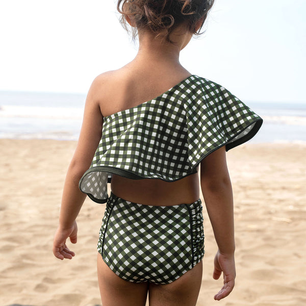Mini Seaweed Gingham One Shoulder Bikini Top