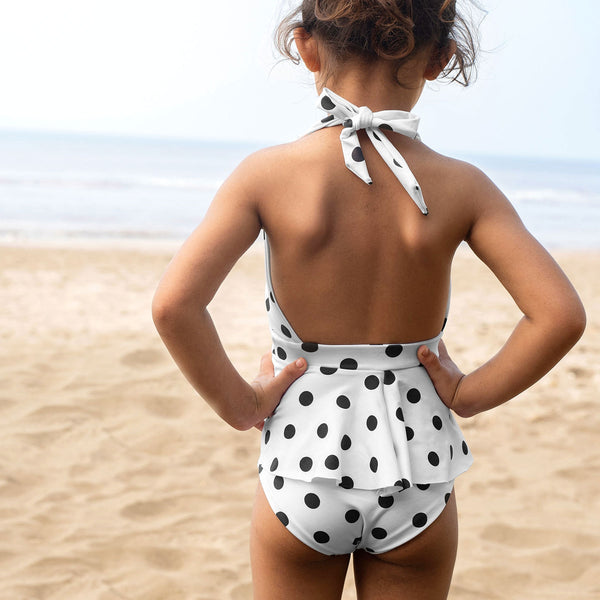 Mini Monochrome Polka Tankini Top