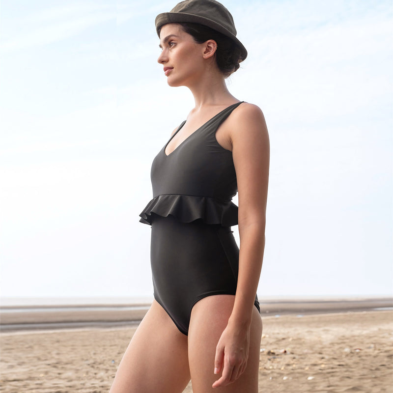 Black Ruffle Back Cut Out Swimsuit