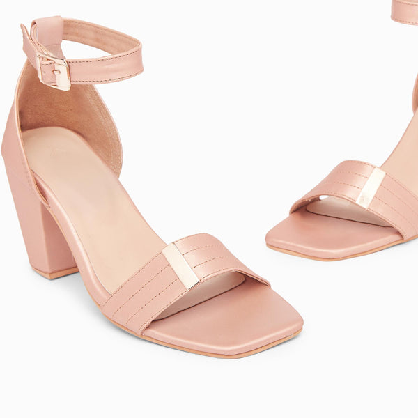 Dusty Rose Ankle Strap Heels