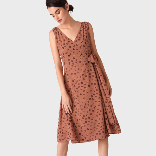 Dusty Rose Geo Overlap Dress