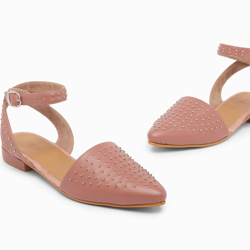 Dusty Rose Studded D'Orsay Flats