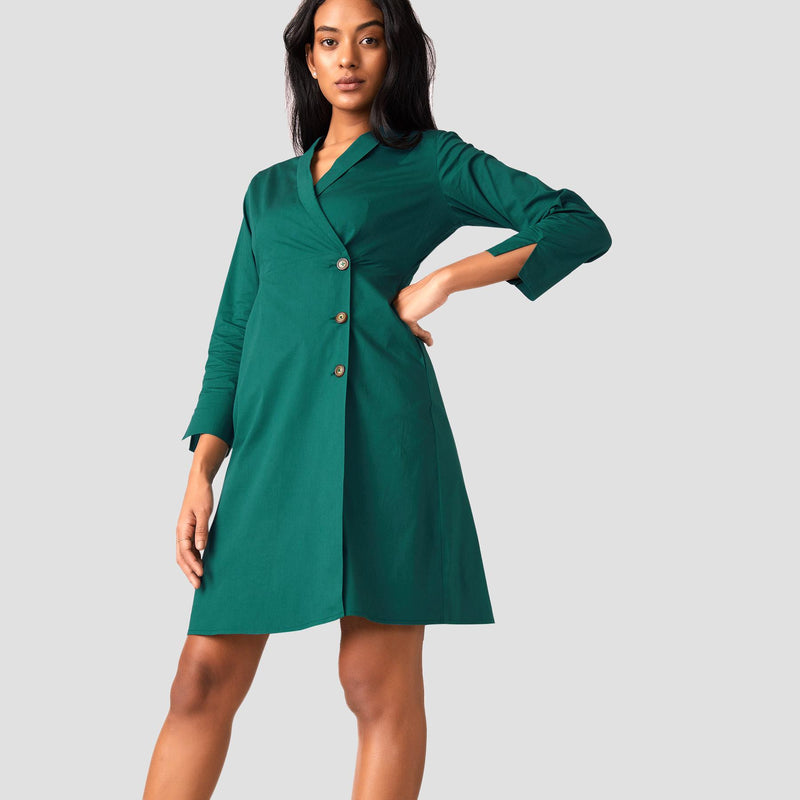 Emerald Lapel Collar Wrap Dress