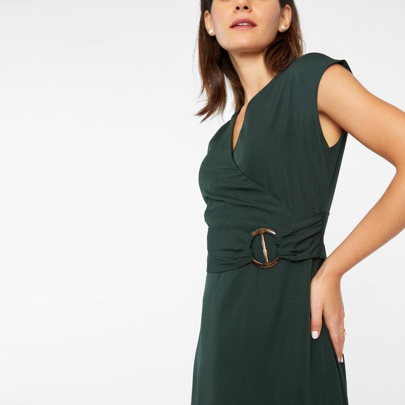 Emerald Overlap Belted Maxi