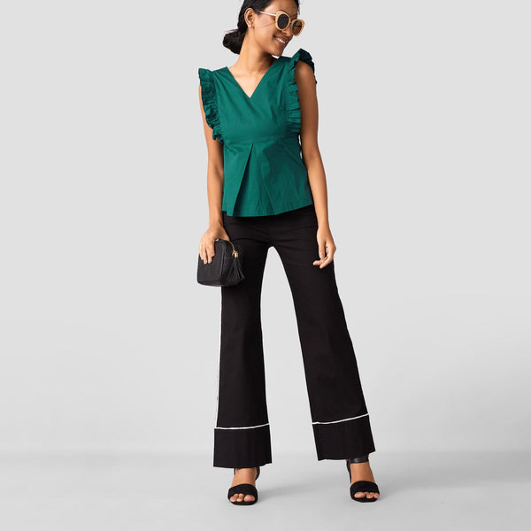 Emerald Ruffle Back Tie Top