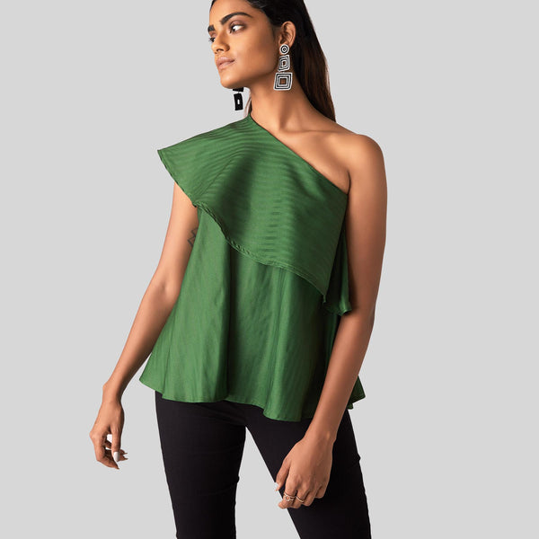 Emerald Striped One Shoulder Top
