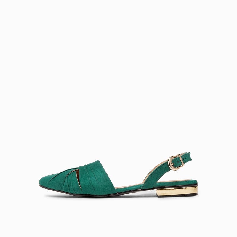 Emerald Suede Draped Flats