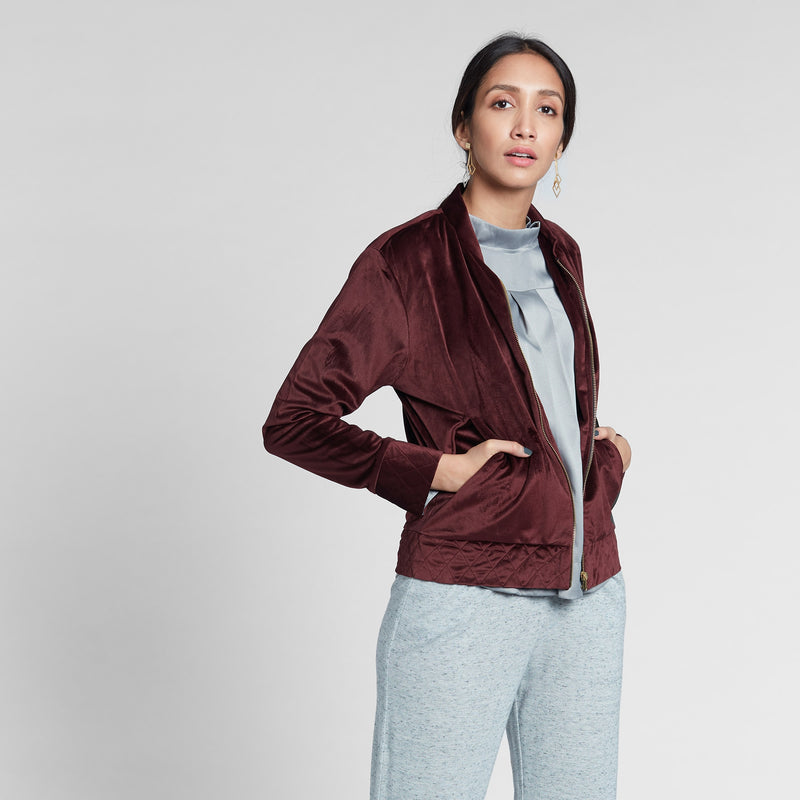 Wine Velvet Bomber Jacket