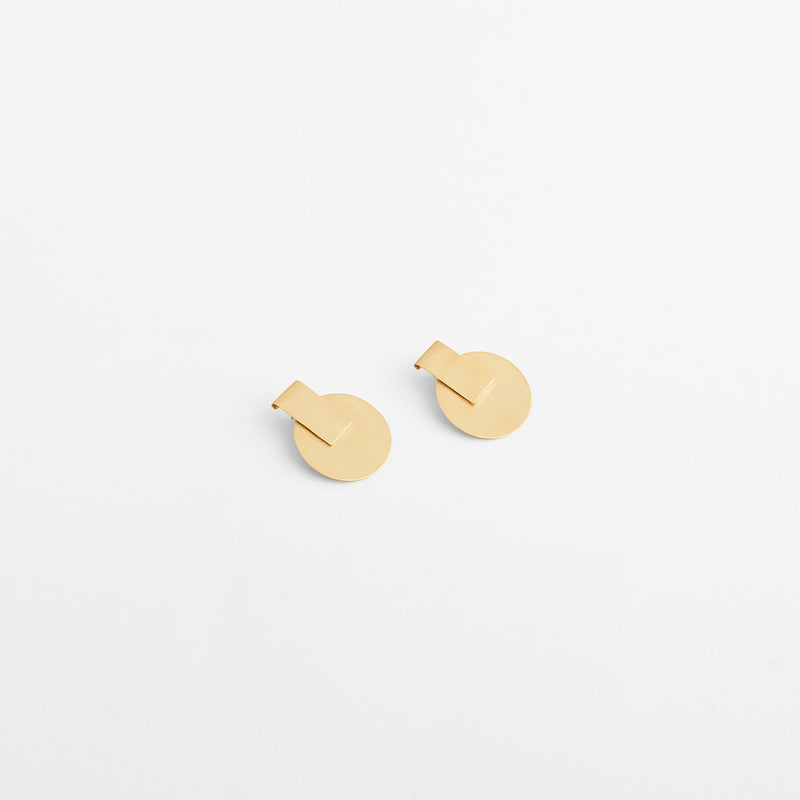 Gold Matte Disc Drop Earrings