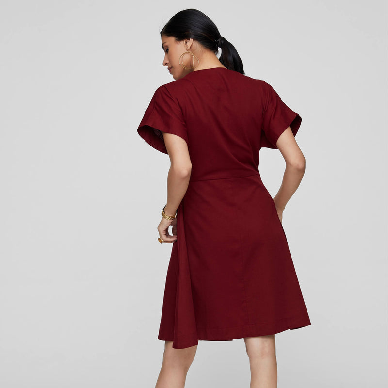 Wine Pleated Wrap Dress