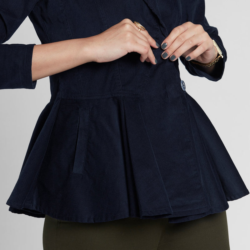 Navy Corduroy Peplum Jacket Top
