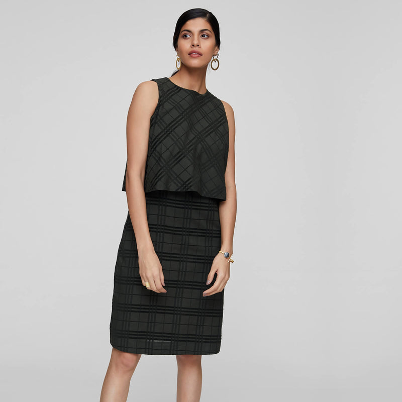 Moss Plaid Overlay Dress