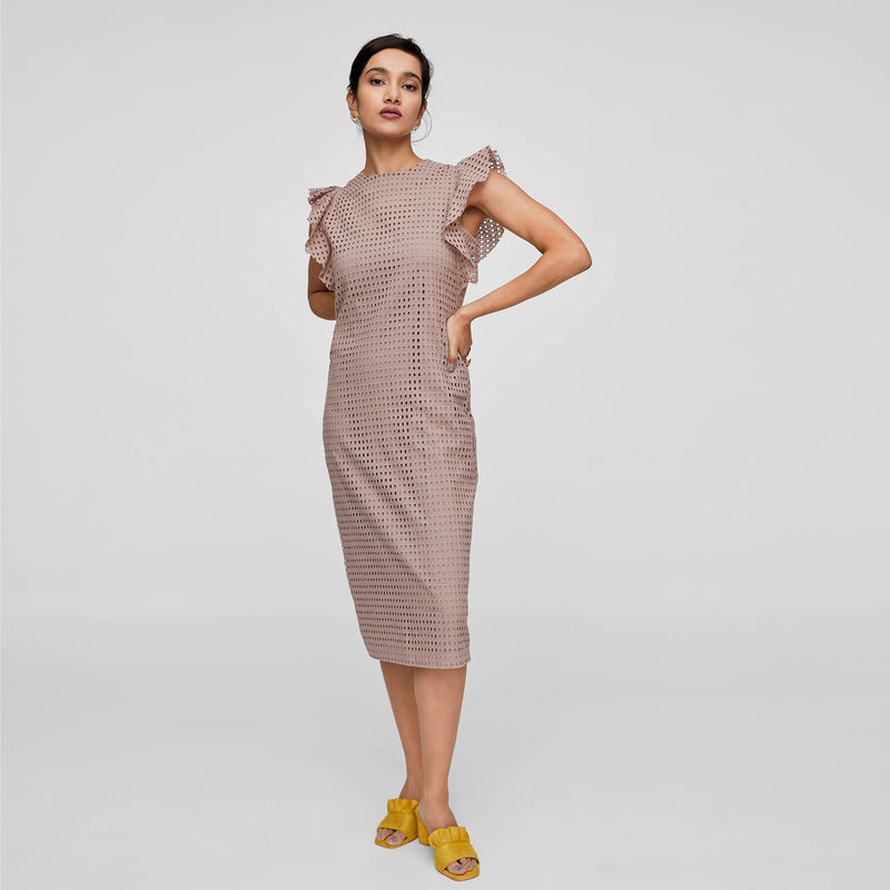 Nutmeg Schiffli Ruffle Shift Dress