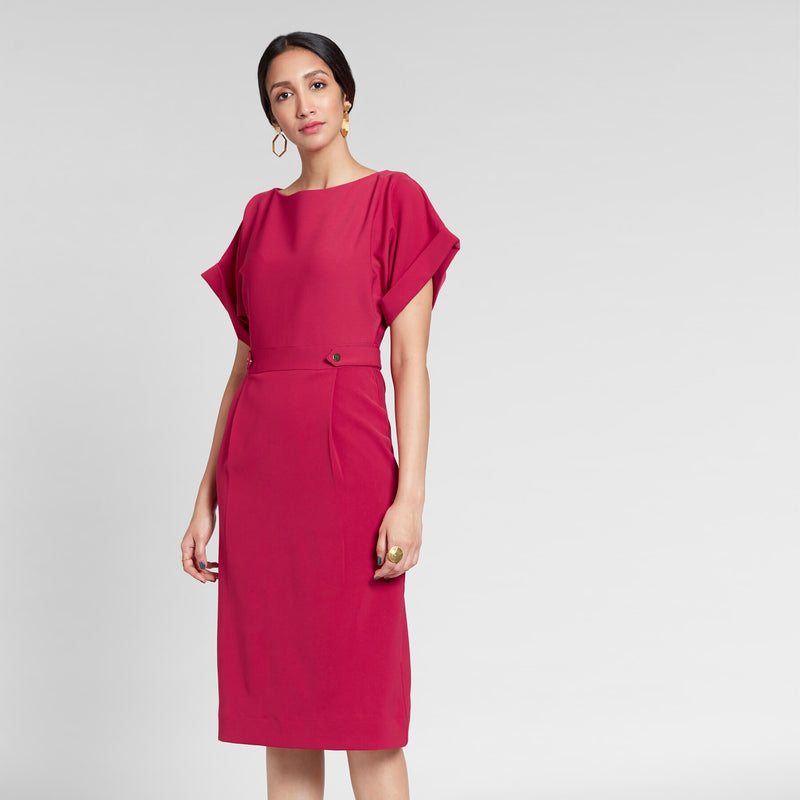 Cranberry Cinched Shift Dress