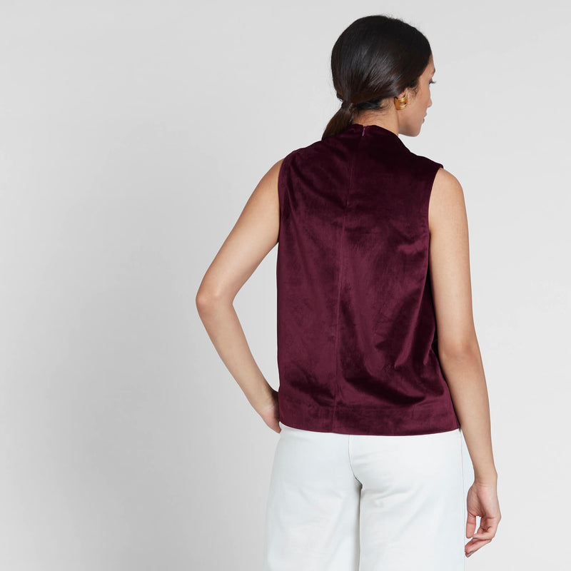 Burgundy Velvet Cowl Neck Top