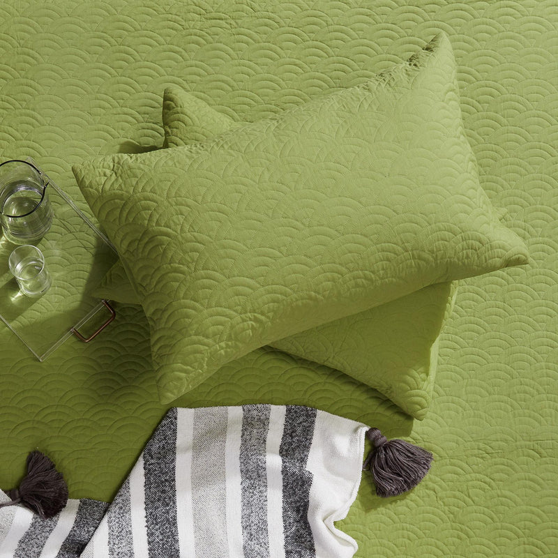 Fern Scallop Quilted Pillow Cases