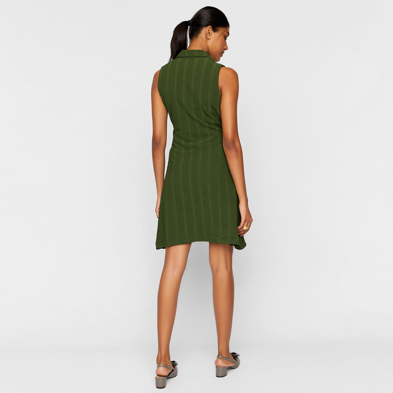 Forest & Polka Cinched Tie Dress