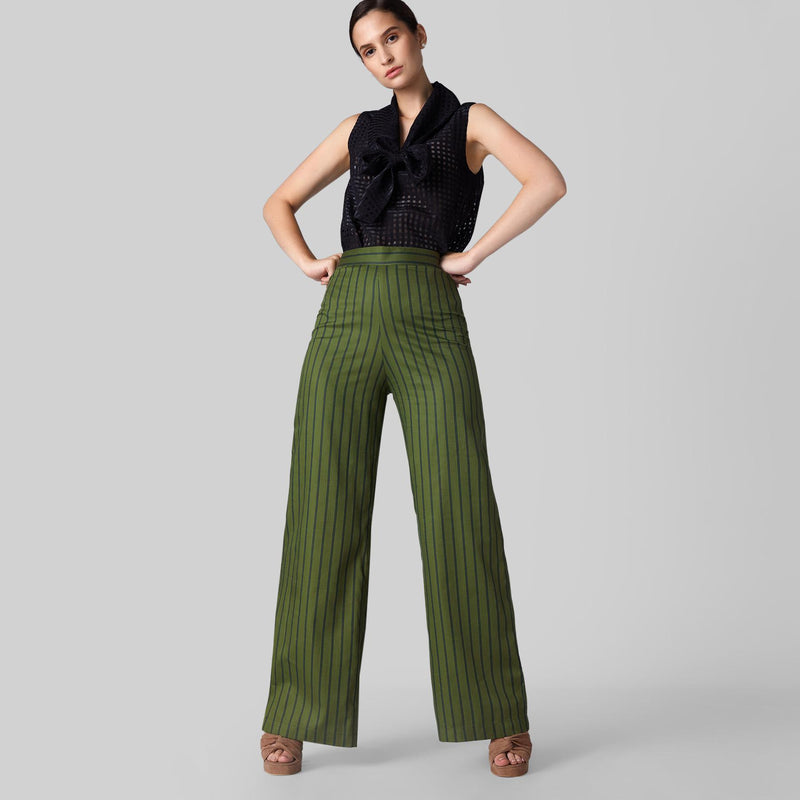 Forest Striped Flare Pants