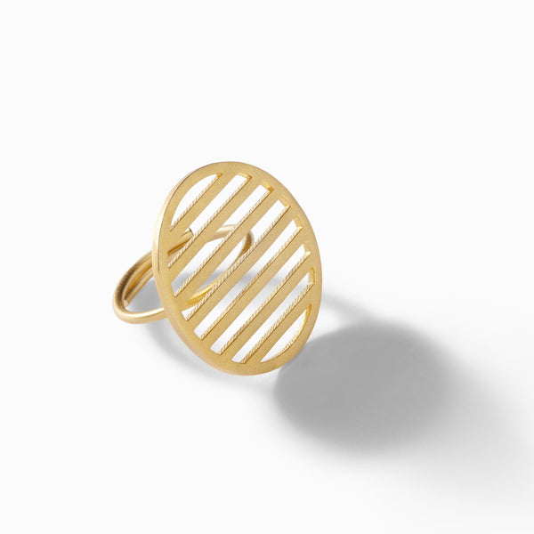 Gold Matte Bar Circle Ring