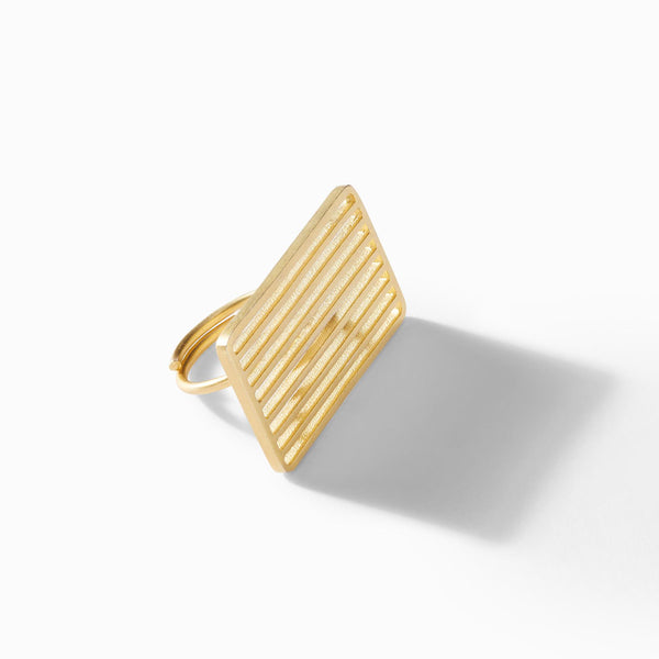 Gold Matte Bar Rectangle Ring