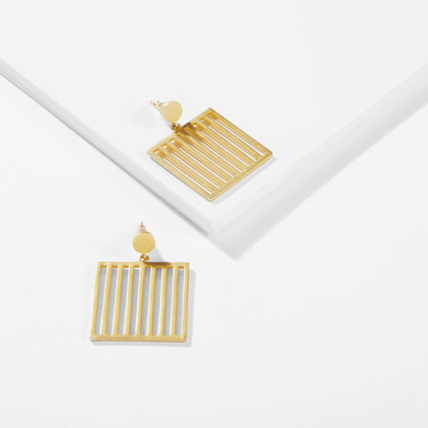 Gold Matte Bar Square Earrings