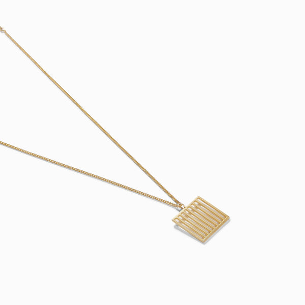 Gold Matte Bar Square Necklace
