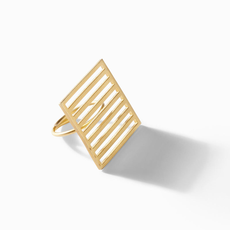 Gold Matte Bar Square Ring