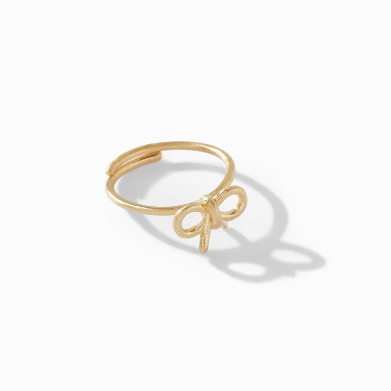 Gold Matte Bow Ring