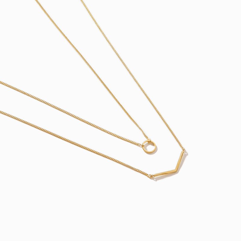 Gold Matte Geo Necklace Set