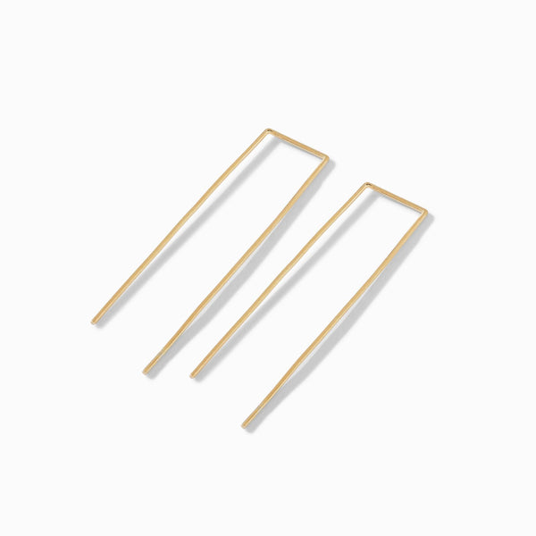 Gold Matte Minimal U Earrings