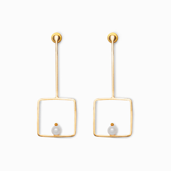 Gold Matte Pearl Square Earrings
