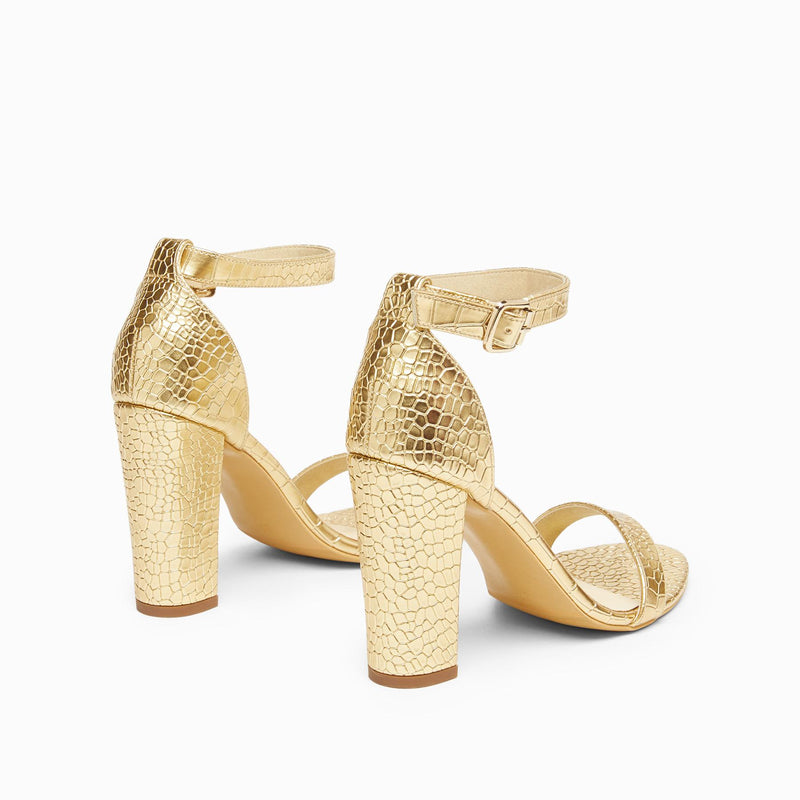 Gold Textured Ankle Strap Block Heels