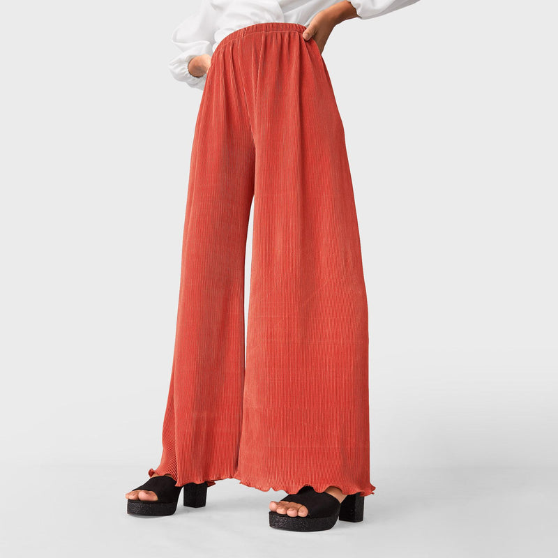 Grapefruit Pleated Flare Pants