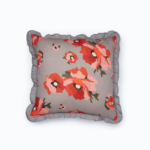 Grey Bloom Ruffle Cushion Cover