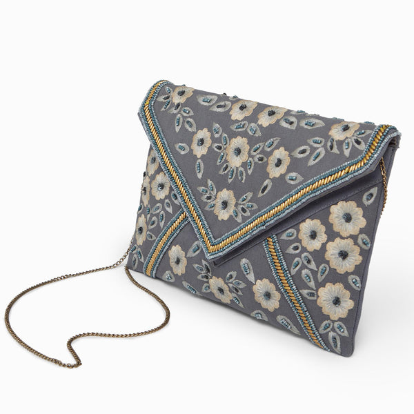 Grey Embroidered Envelope Clutch