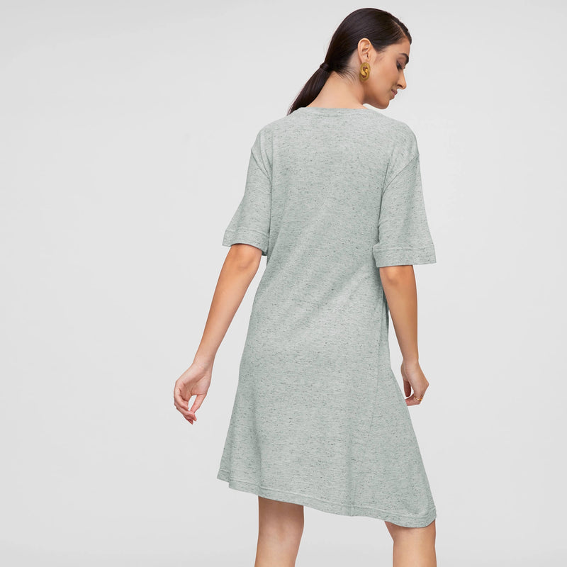 Grey Jersey Side Tie Tee Dress