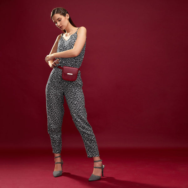 Grey Leopard Relaxed Pants