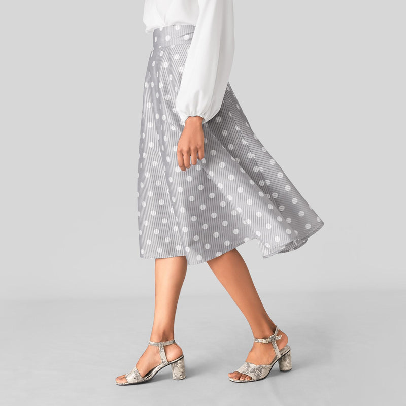 Grey Polka Midi Skirt