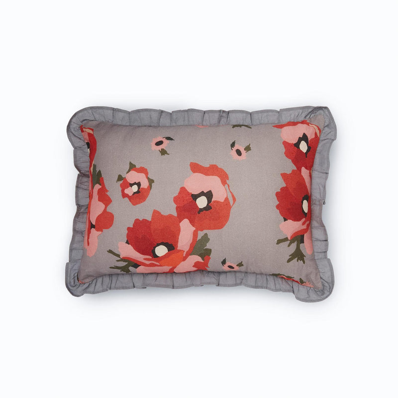 Grey Bloom Ruffle Rectangle Cushion Cover