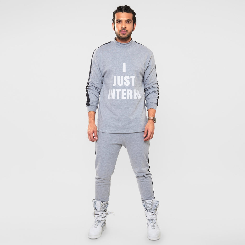 Grey Slogan Men's Tracksuit