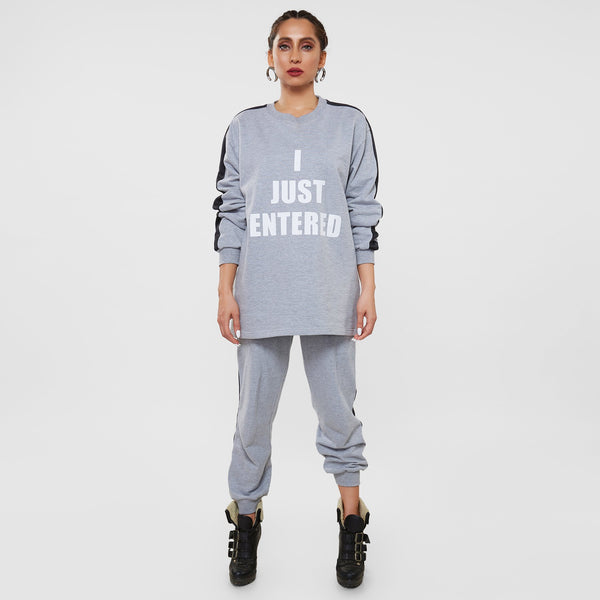 Grey Slogan Women's Tracksuit
