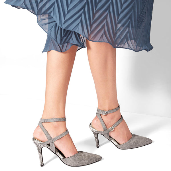 Grey Suede Textured Stilettos