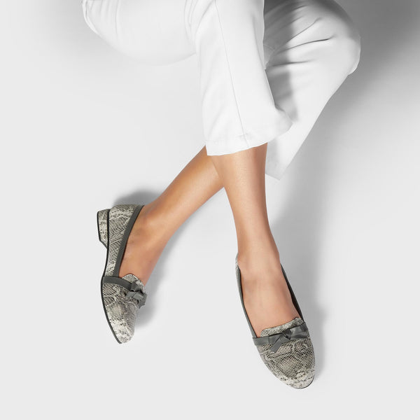 Grey Textured Bow Loafers