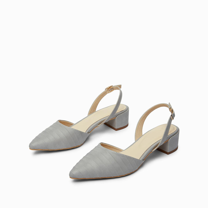 Grey Textured Mule Block Heels