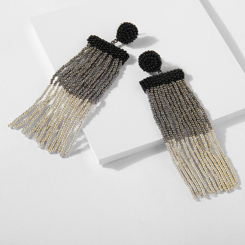 Gunmetal Ombre Beaded Tassel Earrings