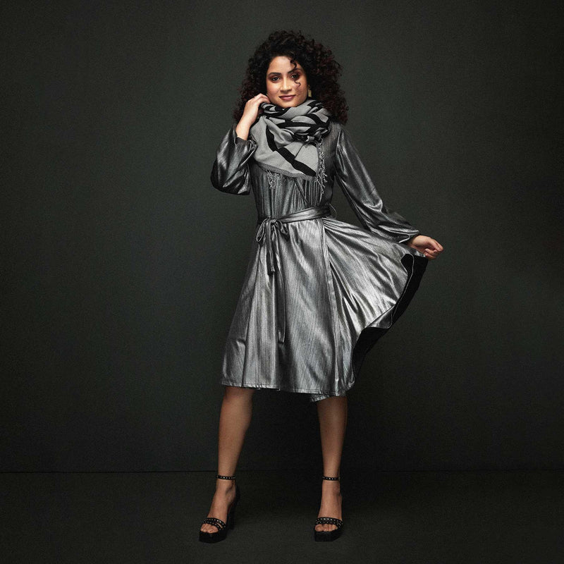 Gunmetal Wrap Dress