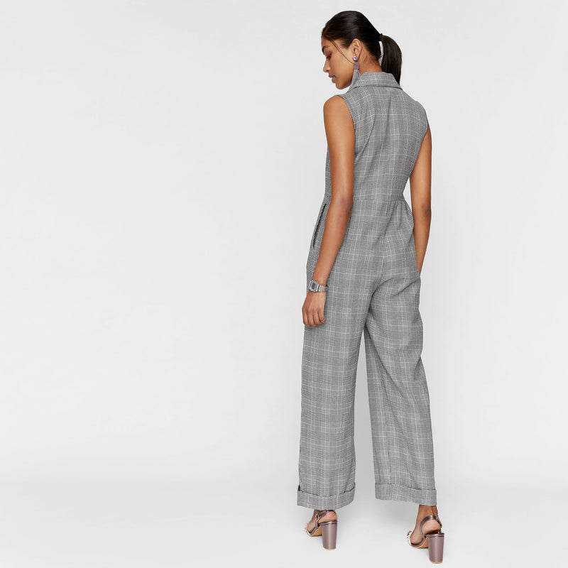 Houndstooth Button Down Jumpsuit