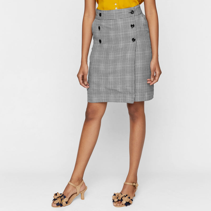 Houndstooth Overlap Skirt