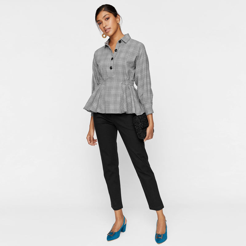 Houndstooth Ruched Peplum Shirt