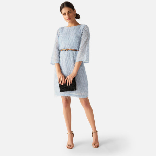 Ice Blue Fringe Shift Dress